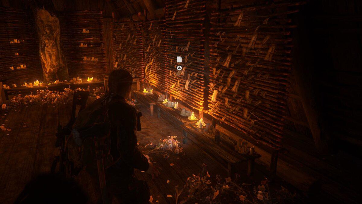 Abby steht in The Last of Us 2 vor einem Seraphiten-Altar.