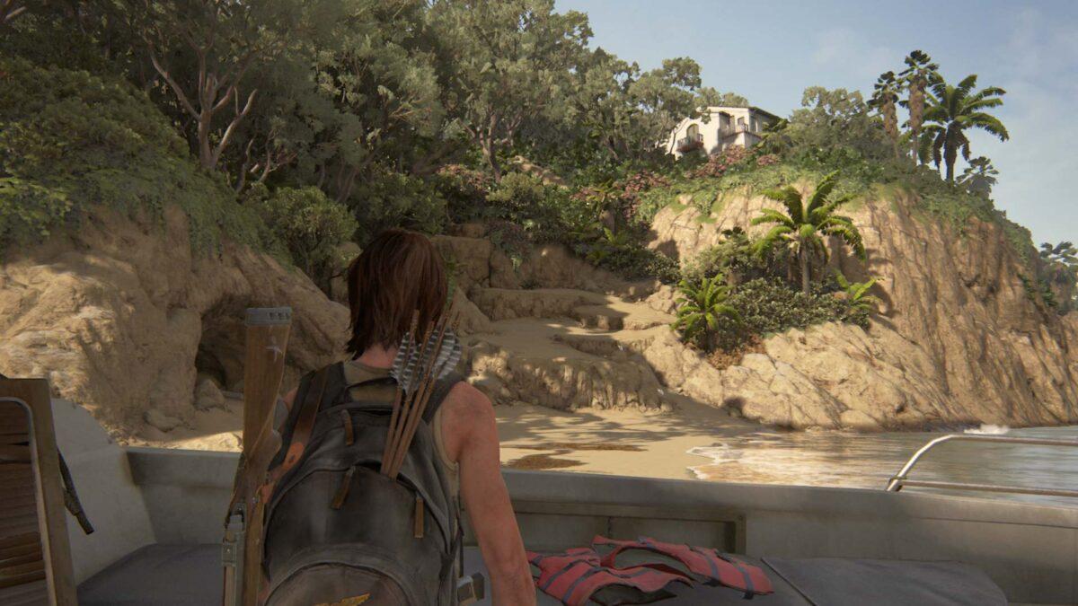 Ellie steht in The Last of Us 2 am Strand von Santa Barbara.