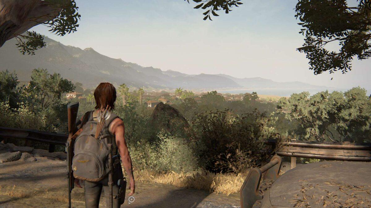 Ellie blickt in The Last of Us 2 über die Küste von Santa Barbara.