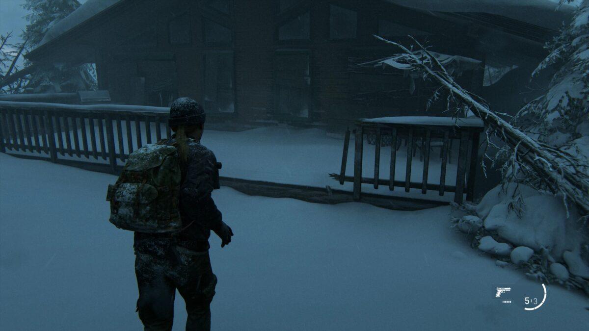 Abby läuft auf eine Hütte mit Veranda in The Last of Us 2 zu