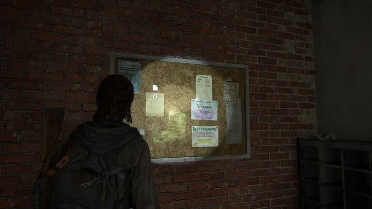 An der Pinnwand des Martial Arts Center hängt das Artefakt Frans Weigerung