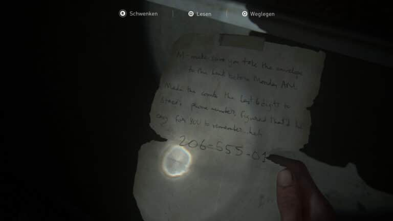 Das Artefakt Gebrauchtwarenladen-Notiz in The Last of Us 2