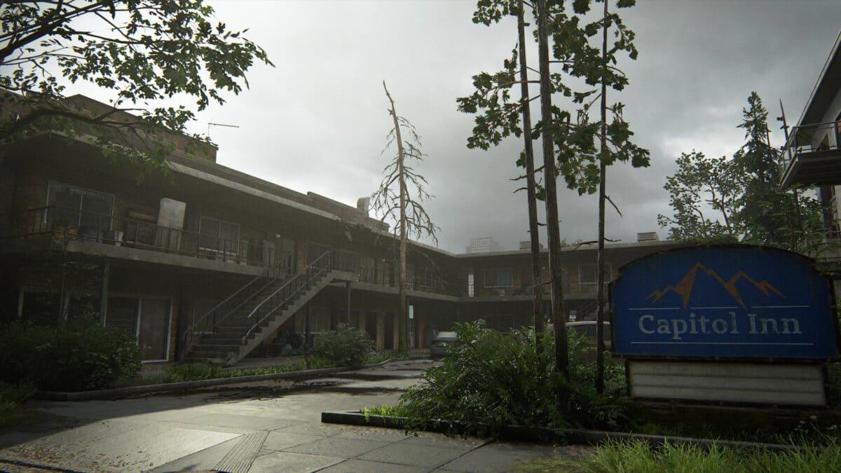 Das Motel Capitol Inn mit Schild und Parkplatz in Capitol Hill