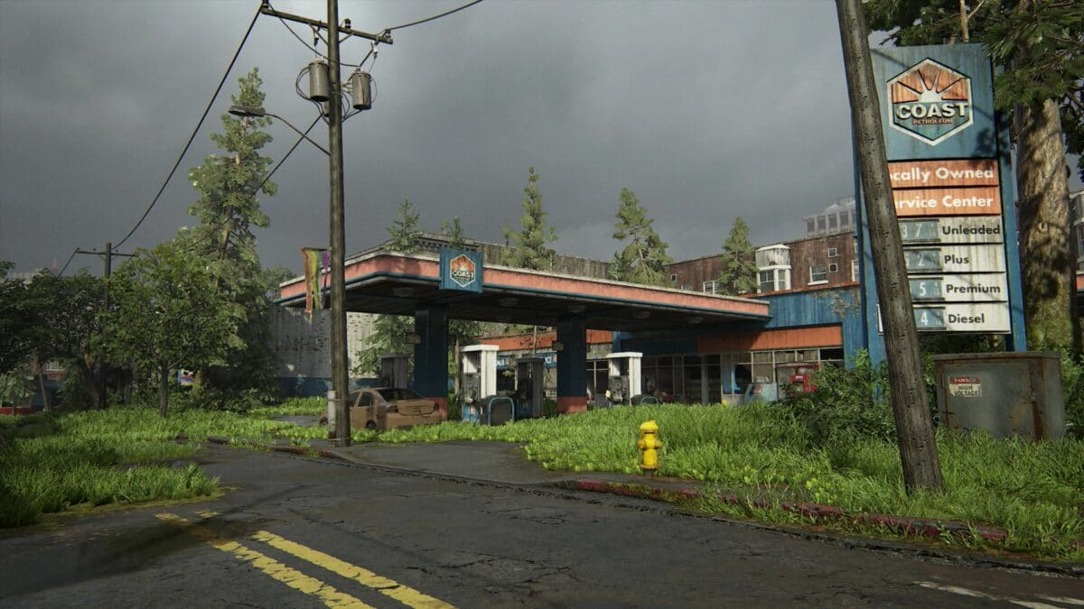 Eine verlassene Tankstelle in Capitol Hill in The Last of Us 2