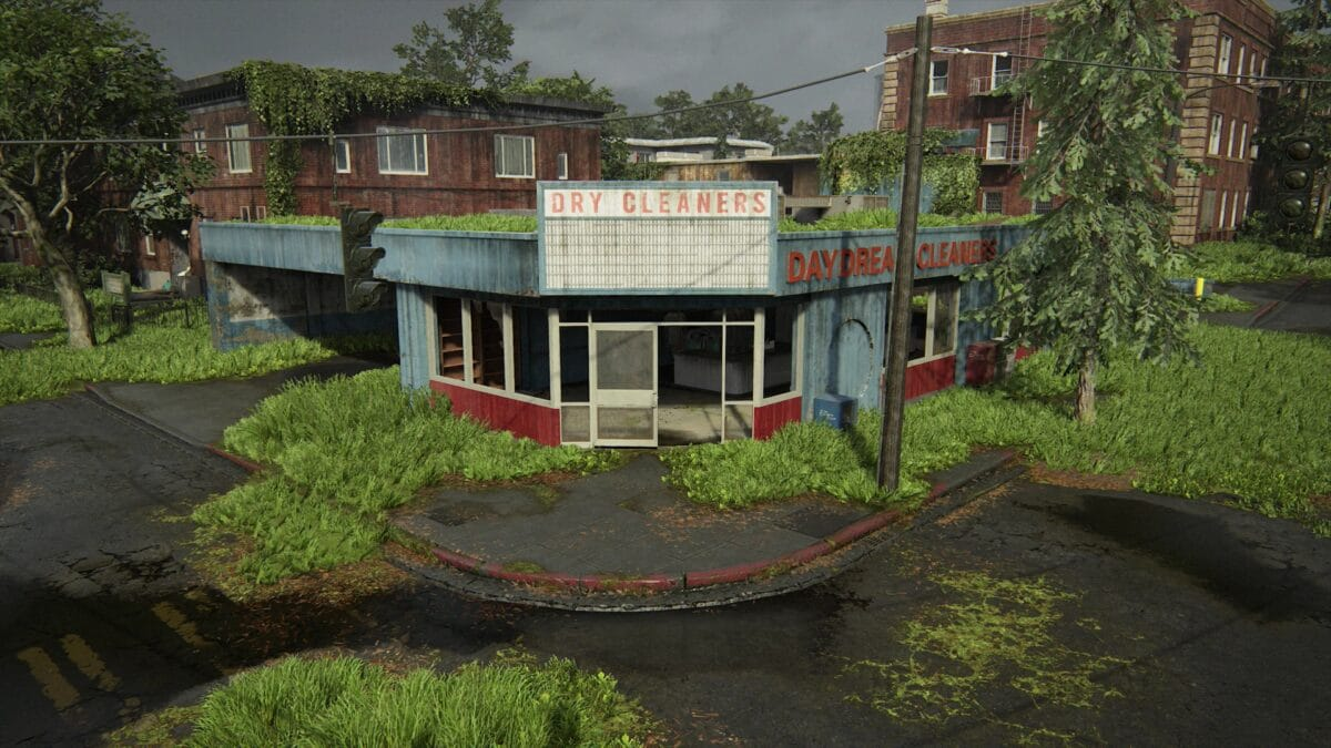 Blick auf die Wäscherei Daydream Cleaners in Capitol Hill in The Last of Us 2