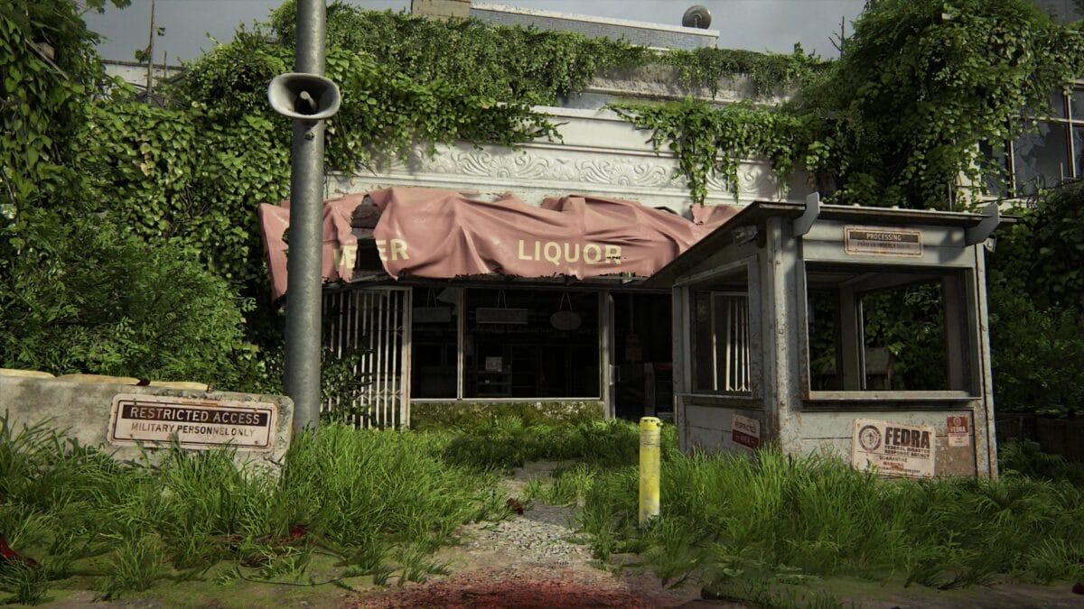 Spirituosenladen mit Wachhäuschen direkt davor in The Last of Us 2