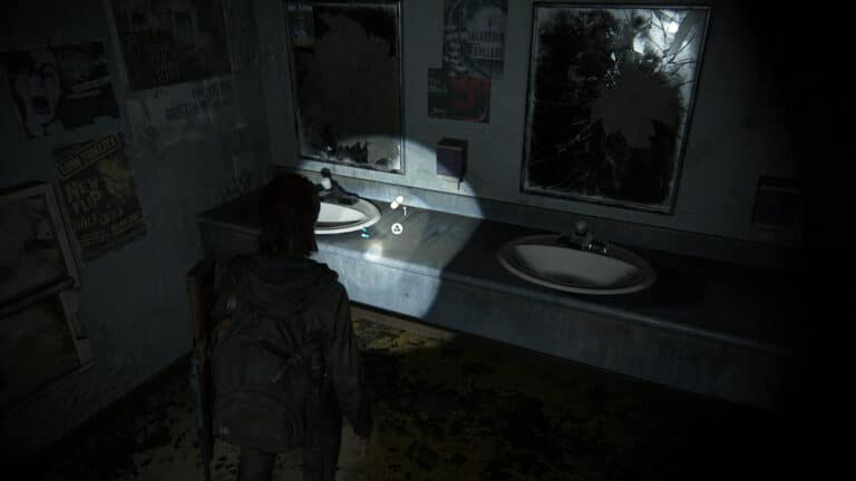 Supplements next to a sink in the women´s restroom of the bookstore in The Last of Us 2.