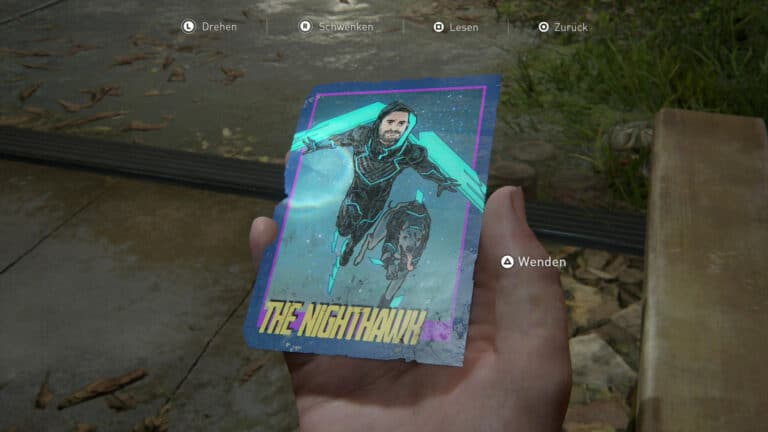 Die Vorderseite der Sammelkarte The Nighthawk in The Last of Us 2