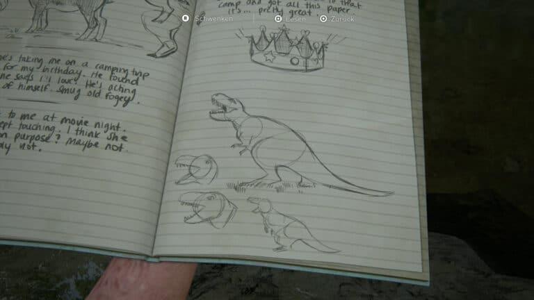 Tagebucheintrag zum Tyrannosaurus Rex in The Last of Us 2