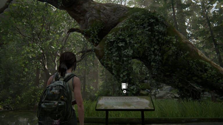 Am Schild zur Statue des Tyrannosaurus Rex findet sich ein weiterer Tagebucheintrag
