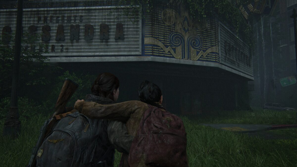 Ellie and Dina approach the Theater in The Last of Us 2.