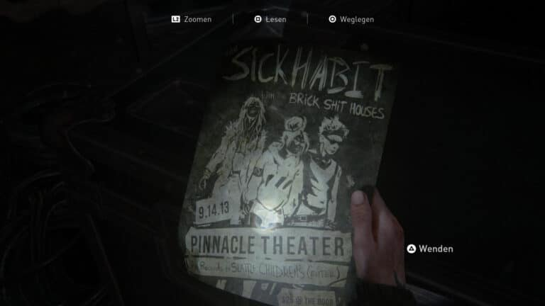 Das Artefakt The SICK Habit-Flyer-Setlist in The Last of Us 2