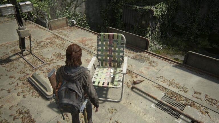 Das Artefakt Dach-Notiz auf einem Gartenstuhl in The Last of Us 2