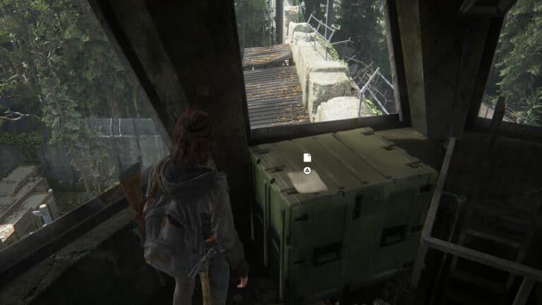 Auf der Kiste im Wachturm in The Last of Us 2 liegt das Artefakt Isaacs Befehle