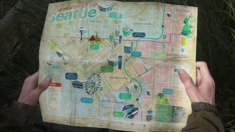 The front page of the Map of Seattle Artifact in The Last of Us 2.