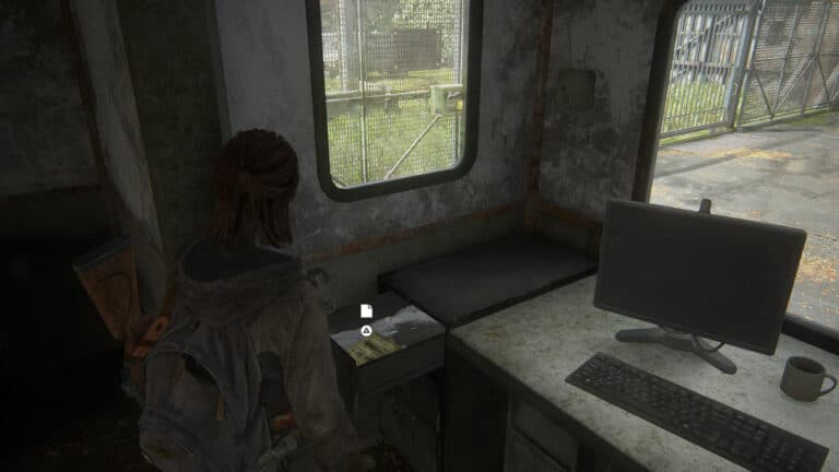 Artefakt Kontrollpunkt-Türcodes in eine Schublade in The Last of Us 2