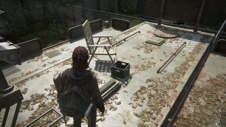 Upgrade parts on the roof of the first FEDRA office in The Last of Us 2.