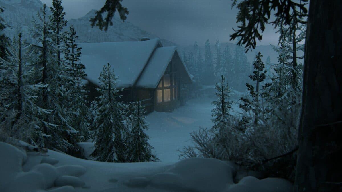 Hütte von oben in Winterlandschaft in The Last of Us 2