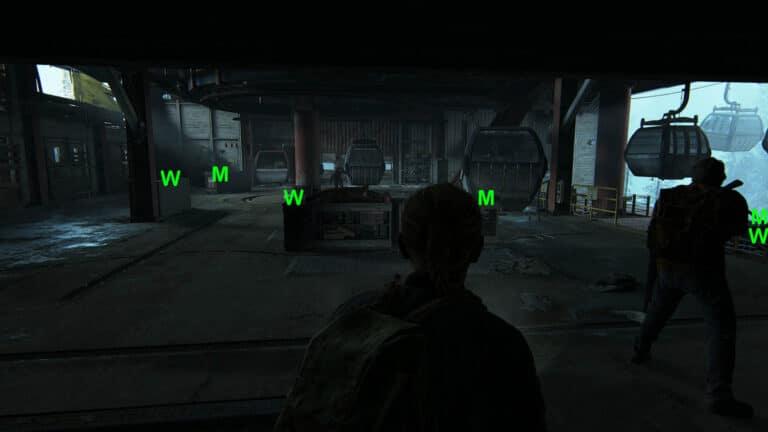 Abby und Joel in der Halle mit anstürmenden Runnern in The Last of Us 2