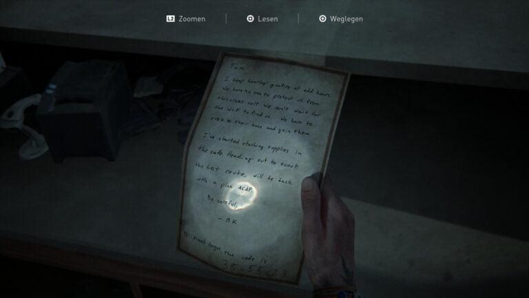 """Das Artefakt """"Apotheken-Notiz"""" in The Last of Us 2."""