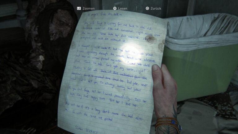 """Das Artefakt """"Bitte des sterbenden Ehemannes"""" in The Last of Us 2."""