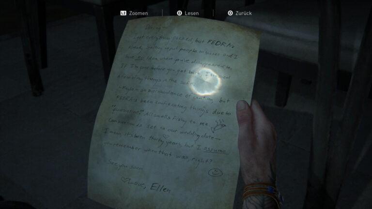 """Das Artefakt """"Evakuierungsbrief"""" in The Last of Us 2."""