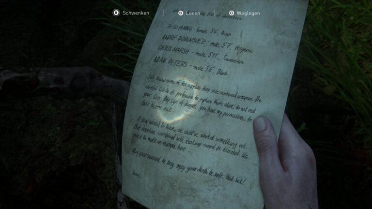 """Das Artefakt """"WLF- Liste der Zielpersonen"""" in The Last of Us 2"""