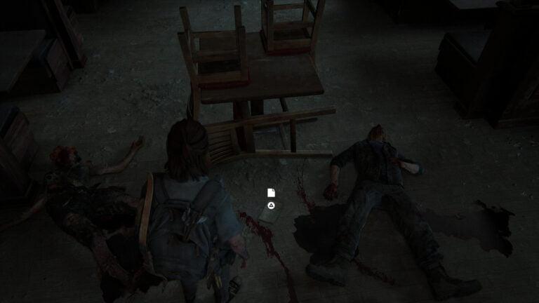 """Neben einem toten Runner in The Last of Us 2 liegt das Artefakt """"WLF- Liste der Zielpersonen"""""""