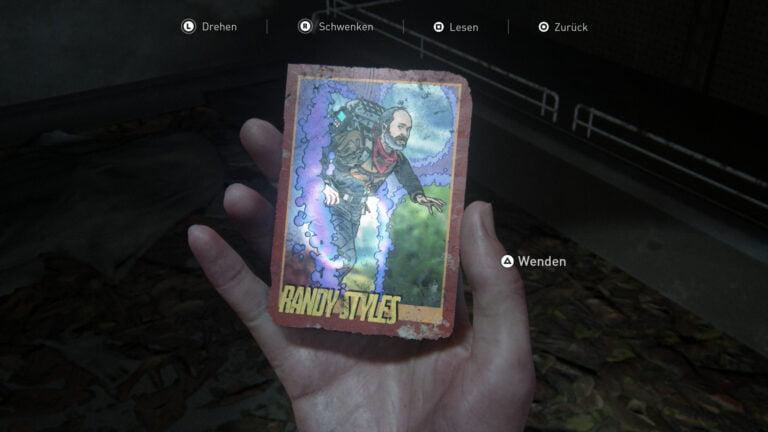 Die Sammelkarte Randy Styles in The Last of Us 2.