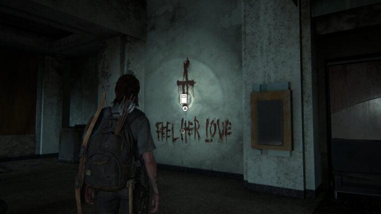 """""""Feel Her Love""""-Graffiti mit Blut an die Wand geschmiert, Position für einen Tagebucheintrag in The Last of Us 2"""