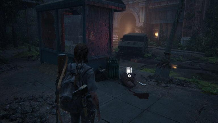 Ellie schaut auf einen getöteten Scar, Position für einen Tagebucheintrag in The Last of Us 2