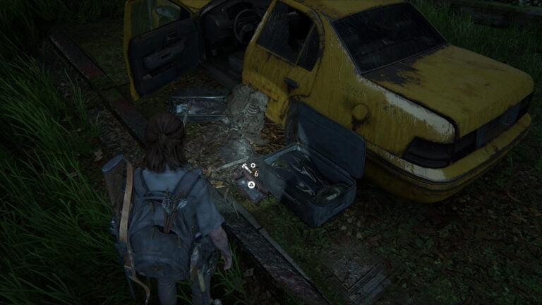 6 Upgrade-Teile neben dem Taxi unter der Unterführung in The Last of Us 2