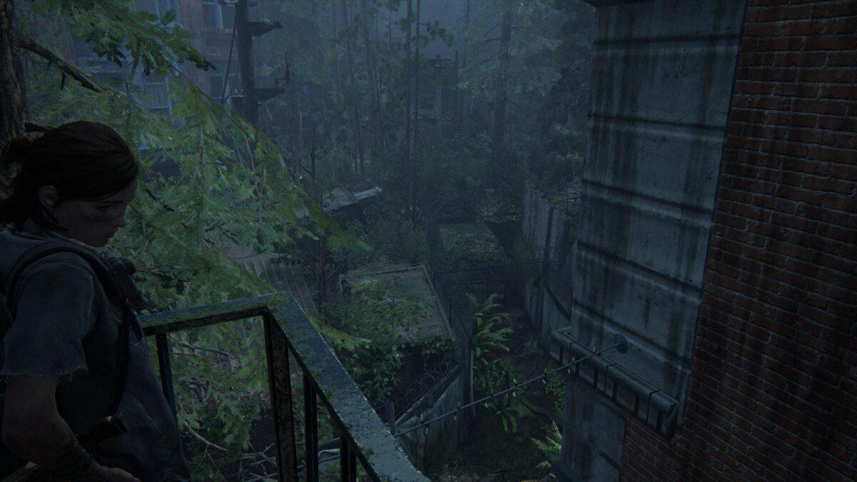 Ellie steht auf einem Balkon, unter ihr liegt die Engstelle in einen Bereich voller Scars in The Last of Us 2
