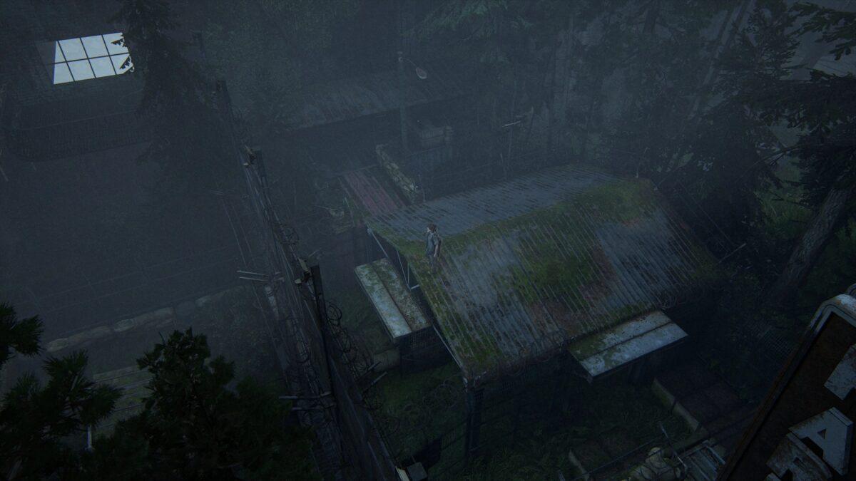 Ellie steht oben auf dem Dach einer Straßensperre in The Last of Us 2