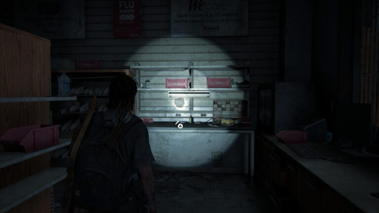 Die Werkbank im Medikamentenraum in Weston's Pharmacy in The Last of Us 2