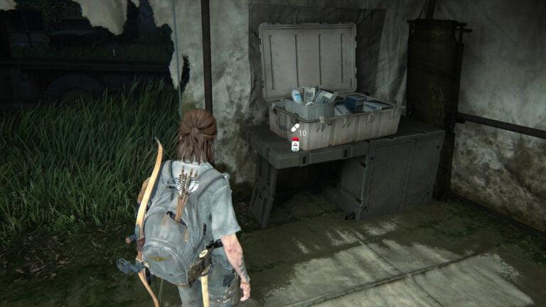 10 Zusätze im Zelt auf dem Vorplatz des Lakehill Hospitals in The Last of Us 2