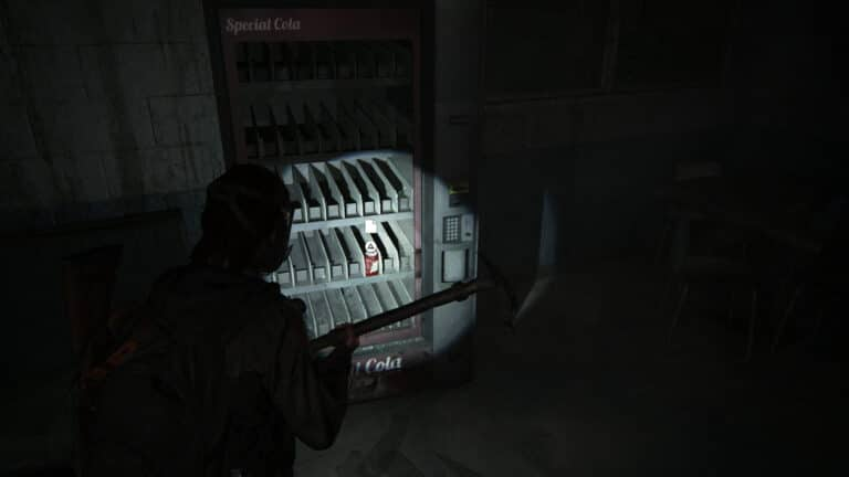 In the vending machine is a can with a note, which is the Soda Can Note artifact.