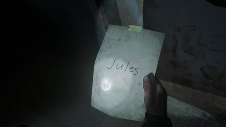 Zettel mit der Aufschrift Jules, das Artefakt U-Bahn-Station-Notiz in The Last of Us 2