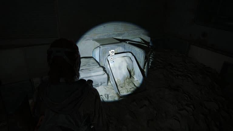 In einem umgekippten U-Bahn-Waggon liegt auf alten Rollkoffern die Sammelkarte Bastet