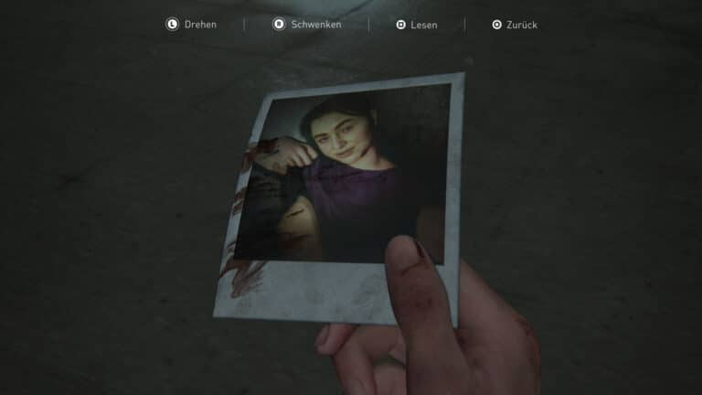 Blutverschmiertes Foto von Leah in The Last of Us 2