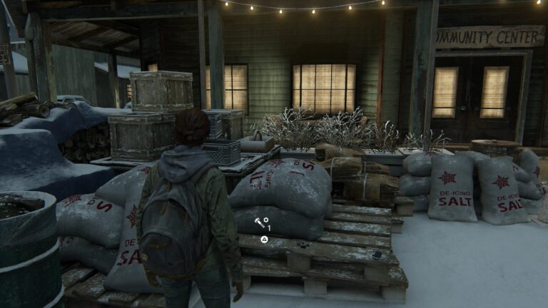 Upgrade parts on the pallet in front of the Community Center in Jackson in The Last of Us 2