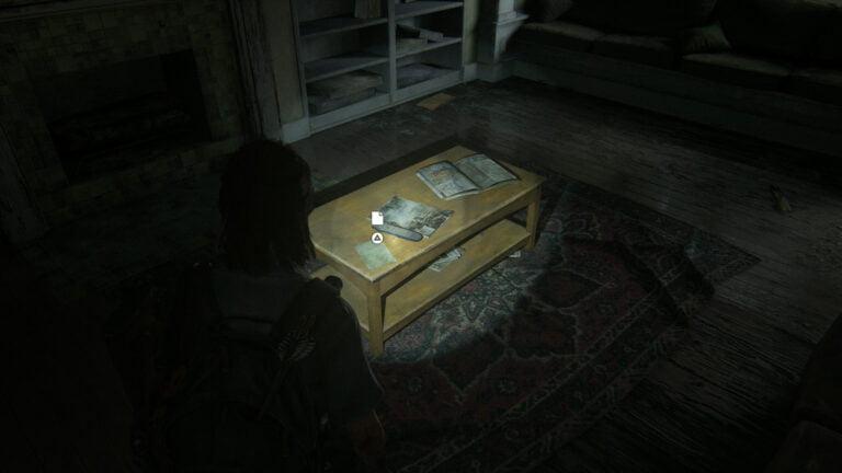 """Das Artefakt """"Boris Geständnis"""" in The Last of Us 2 auf dem Wohnzimmertisch in Boris' Haus."""