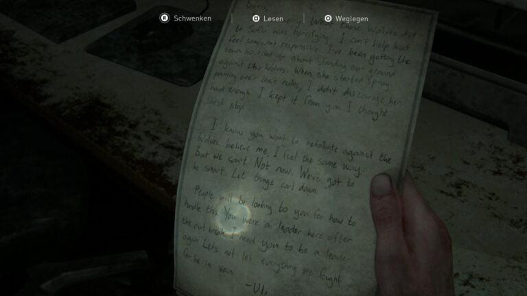 "Das Artefakt ""Kondolenzschreiben"" in The Last of Us 2"