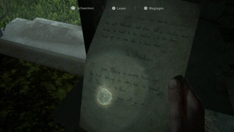 """Das Artefakt """"Notiz im Hillcrest- Tattoostudio"""" in The Last of Us 2"""