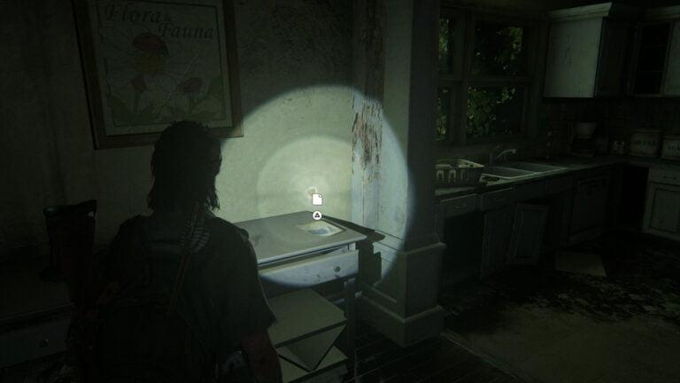"""Auf einer Kommode unter dem Bild liegt das Artefakt """"Rosemonts Flyer"""" in The Last of Us 2"""
