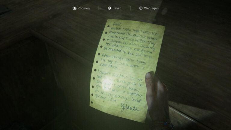 """Das Artefakt """"Yolandas Brief"""" in The Last of Us 2."""