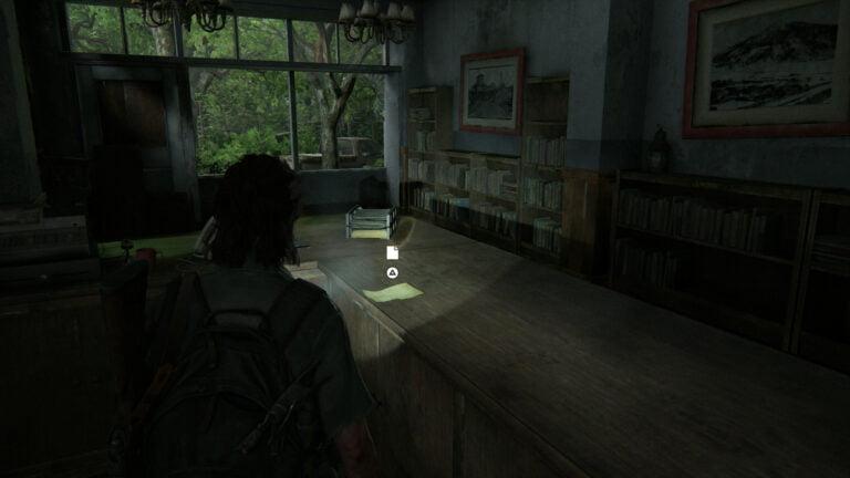 """Das Artefakt """"Yolandas Brief"""" auf einem Verkaufstresen in The Last of Us 2"""