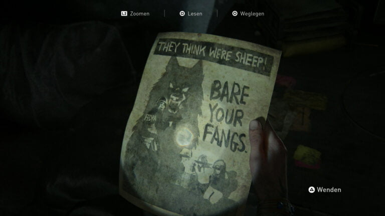 "Das Artefakt ""Kommt zur WLF- Notiz"" in The Last of Us 2."
