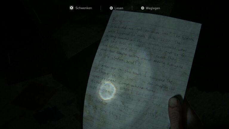 """Das Artefakt """"Wir brauchen einen Plan-Notiz"""" in The Last of Us 2."""