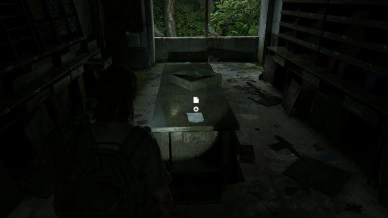 """Auf einen Verkaufstisch in der Mitte des Raums liegt das Artefakt """"Wir brauchen einen Plan-Notiz"""" in The Last of Us 2"""